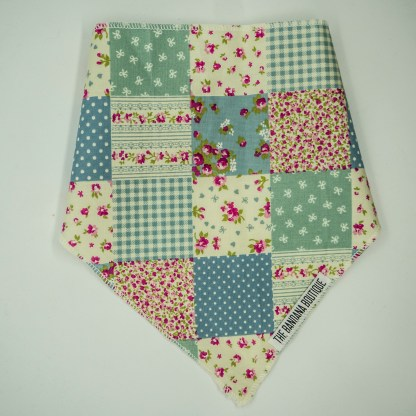 Patchwork Floral Blue Green Small Bandana