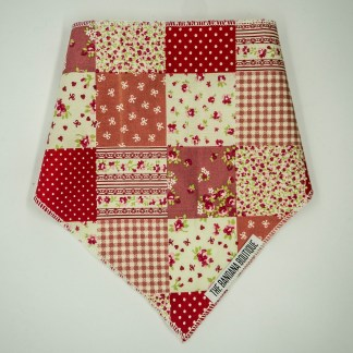 Patchwork Floral Pink Red Small Bandana