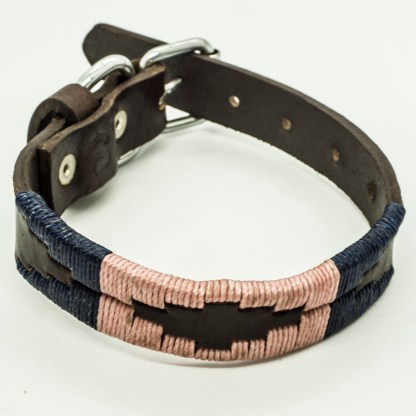 Salmon and Navy Polo XS Leather Collar