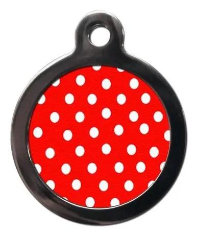 Red Polka Dot PA13 Pattern Dog ID Tag