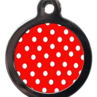 Red Polka Dot PA13 Pattern Dog ID Tag