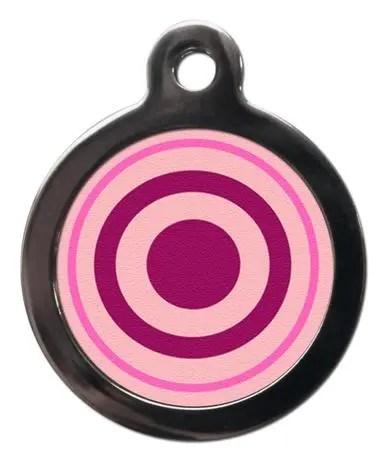 Pink Bullseye PA3 Pattern Dog ID Tag