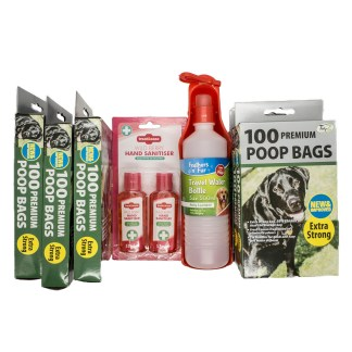 Premium Poo Bags and Hand Sanitiser Bundle with Free Travel Water Bottle