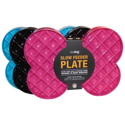 SloDog Slow Feeder Plate Pink / Black / Blue
