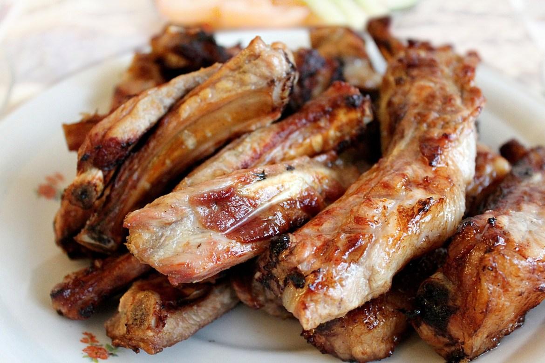 Pork ribs on plate
