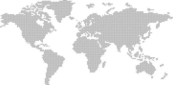 ドットで表現された世界地図のベクターAIファイル。ドットの大きさは3種類あります。