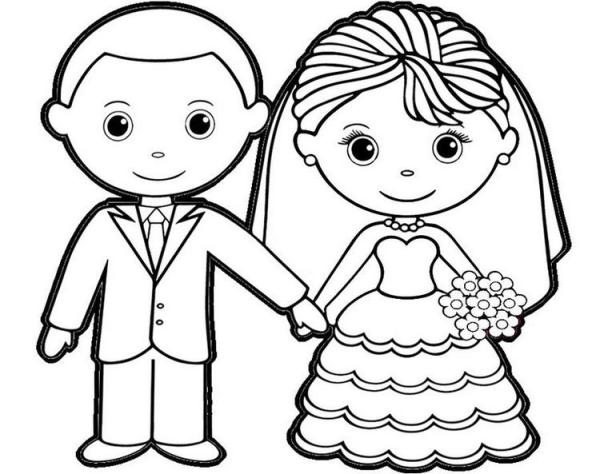 bride and groom coloring pages # 64