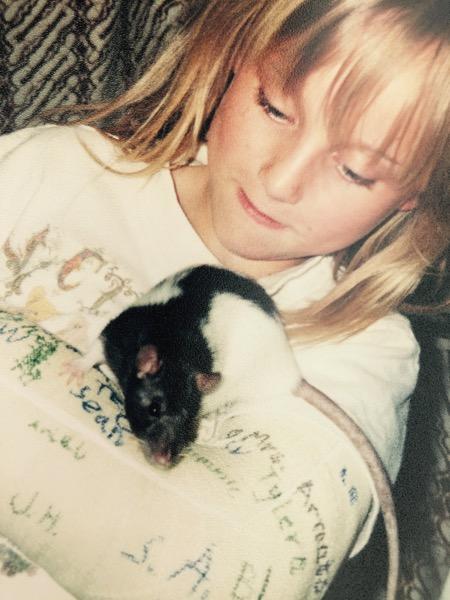 Alex + Silky her pet rat