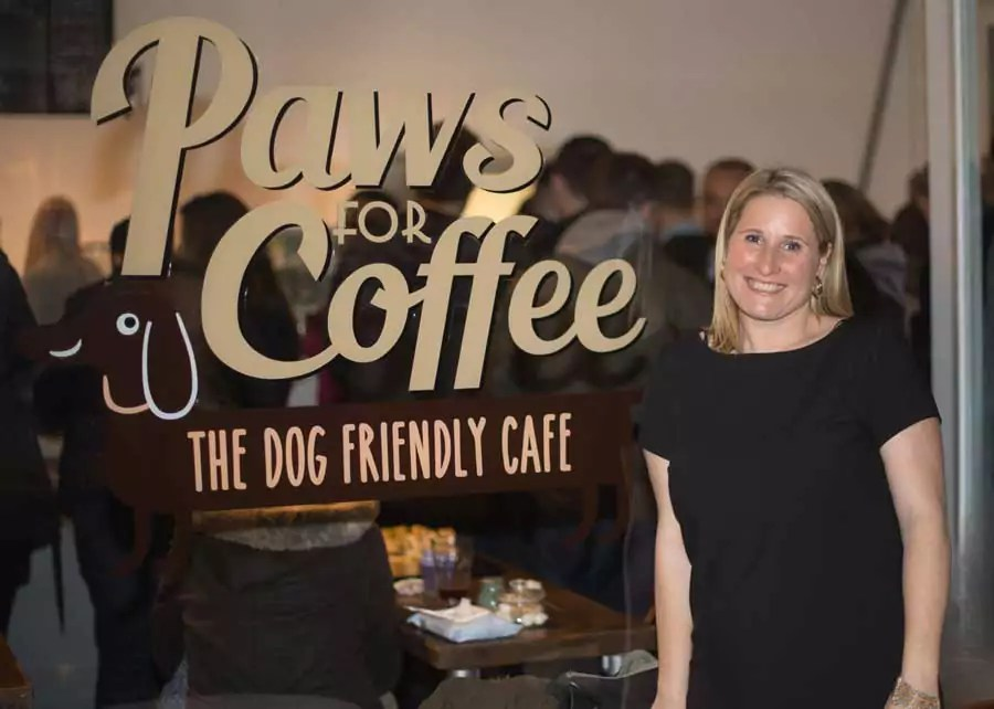Louise outside her new dog friendly cafe