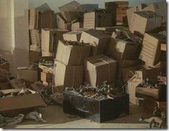 Estado en el que se hallaban las figuras de Acámbaro, amontonadas en medio de decenas de cajas
