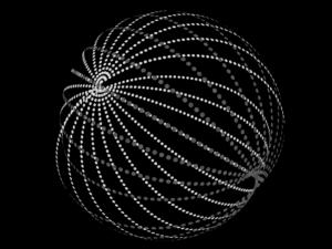Figura de una esfera de Dyson de tipo enjambre rodeando una estrella (Fuente: Wikipedia)
