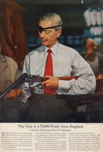 1955 Hathaway Shirt ad, featuring a Purdey shotgun