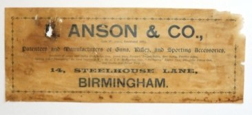 E. Anson & Son Gunmaker Case Label