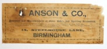 E. Anson & Son Gunmaker Case Label