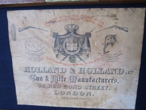 Holland & Holland case label, circa 1895