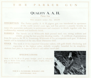 12 gauge Parker Bros. AAH Pigeon Gun Double Barrel Side-by-Side Shotgun