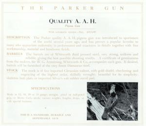 12 gauge Parker Bros. AAH Pigeon Gun Double Barrel Side-by-Side Shotgun