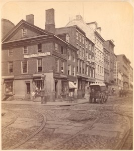Walnut & Second St, Philadelphia, Circa 1871. John Krider was on the corner, Wm. Robertson and A. Peterman were next door.