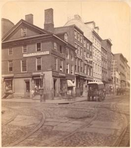Walnut & Second St, Philadelphia, Circa 1871. John Krider was on the corner, Wm. Robertson and A. Peterman were next door.