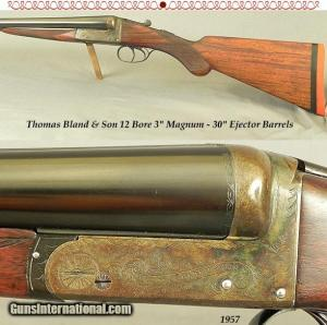 "THOMAS BLAND 12- 3"" MAG- APPEARS UNFIRED- BOXLOCK EJECT- 30"" Bbls- 98% ORIG CASE COLORS- APPEARS UNFIRED"