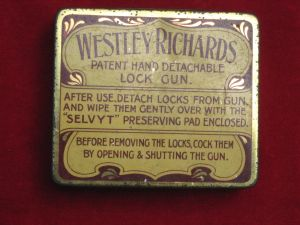 """Original  WESTLEY RICHARDS DETACHABLE-LOCK """"SELVYT"""" GUN CLEANING PAD IN NAMED CASE"""