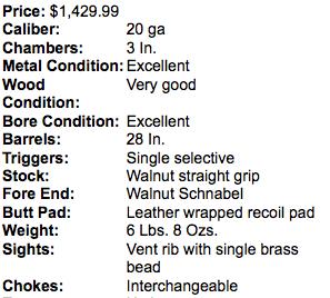 20 gauge FAIR/NEA Model 500 O/U.
