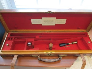 Original  James Woodward & Sons oak & leather Over Under Shotgun Case