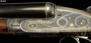 FINE ANTIQUE JAMES PURDEY SIDELOCK EJECTOR GAME GUN WITH ORIGINAL CASE. SN 14855.