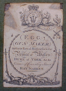 Durs Egg, Gunmaker. Trade label from a pair of cased flintlock duelers. Pic by Tortuga Trading Inc.