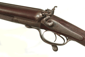 "ENGLISH DOUBLE BARREL HAMMERGUN BY ""JOSEPH HARKOM & SON, EDINBURGH"