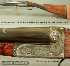 WEBLEY & SCOTT Ltd. 12 BEST QUALITY BOXLOCK EJECTOR- 1925- GOLDEN ERA & NOT PRODUCED LIKE THIS AFTER WWII- SCREW GRIP ACTION
