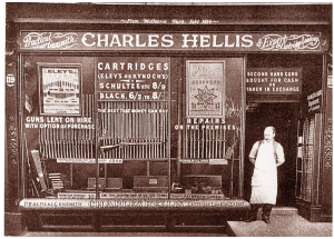 Gunmaker Charles Hellis outside his shop on Edgware Road, London
