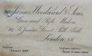 James Woodward & Sons, St. James St., Gunmaker case label