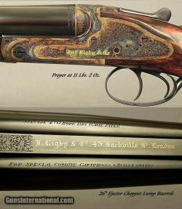 "RIGBY RISING BITE 470 N. E. SIDE-BY-SIDE DOUBLE RIFLE- BORES as NEW with ORIG. Bbls.- SUPERB 1911 SIDELOCK CLASSIC- 26"" EJECTOR CHOPPER LUMP Bbls.- OUTSTANDING WOOD"