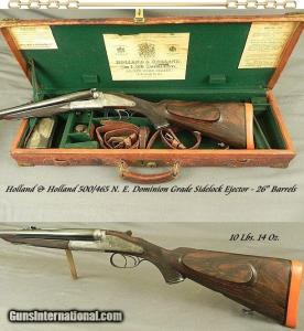HOLLAND & HOLLAND SXS DOUBLE RIFLE 500/465 N. E.- DOMINION SIDELOCK EJECT- EXC. PLUS BORES- VERY NICE LEATHER TRUNK