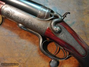 A. Hollis .577 Nitro Express Underlever, Hammer Double Rifle