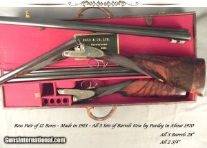 "BOSS & Co.12 BORE PAIR- 3 SETS of Bbls. by PURDEY ABOUT 1970- ORIG. BOSS Bbls. LOST in SHIPMENT- ALL Bbls. ALMOST as NEW- ALL 28"" & 2 3/4"":"