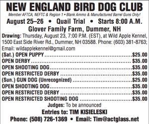 New England Bird Dog Club's 2018 Field Trial