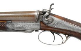 LOT 1015: 10g JOSEPH LANG UNDERLEVER HAMMER SXS SHOTGUN, coming up at Poulin Auction on 10/20/18
