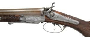 LOT 1015: 10g JOSEPH LANG UNDERLEVER HAMMER SXS SHOTGUN, coming up at Poulin Auction on 10/20/18