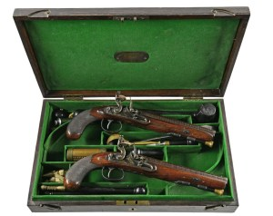JOHN BLANCH CASED FLINTLOCK SET OF DUELING PISTOLS
