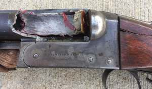 This gun was intentionally destroyed with a gross overcharge of smokeless powder. Pic from MidwayUSA website