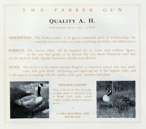 Parker AH Grade Shotgun, page from a Parker catalog, from parkerguns.org