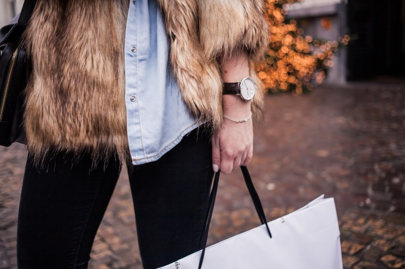 Dogs and Dresses furry coat grey hat outfit streetstyle 2