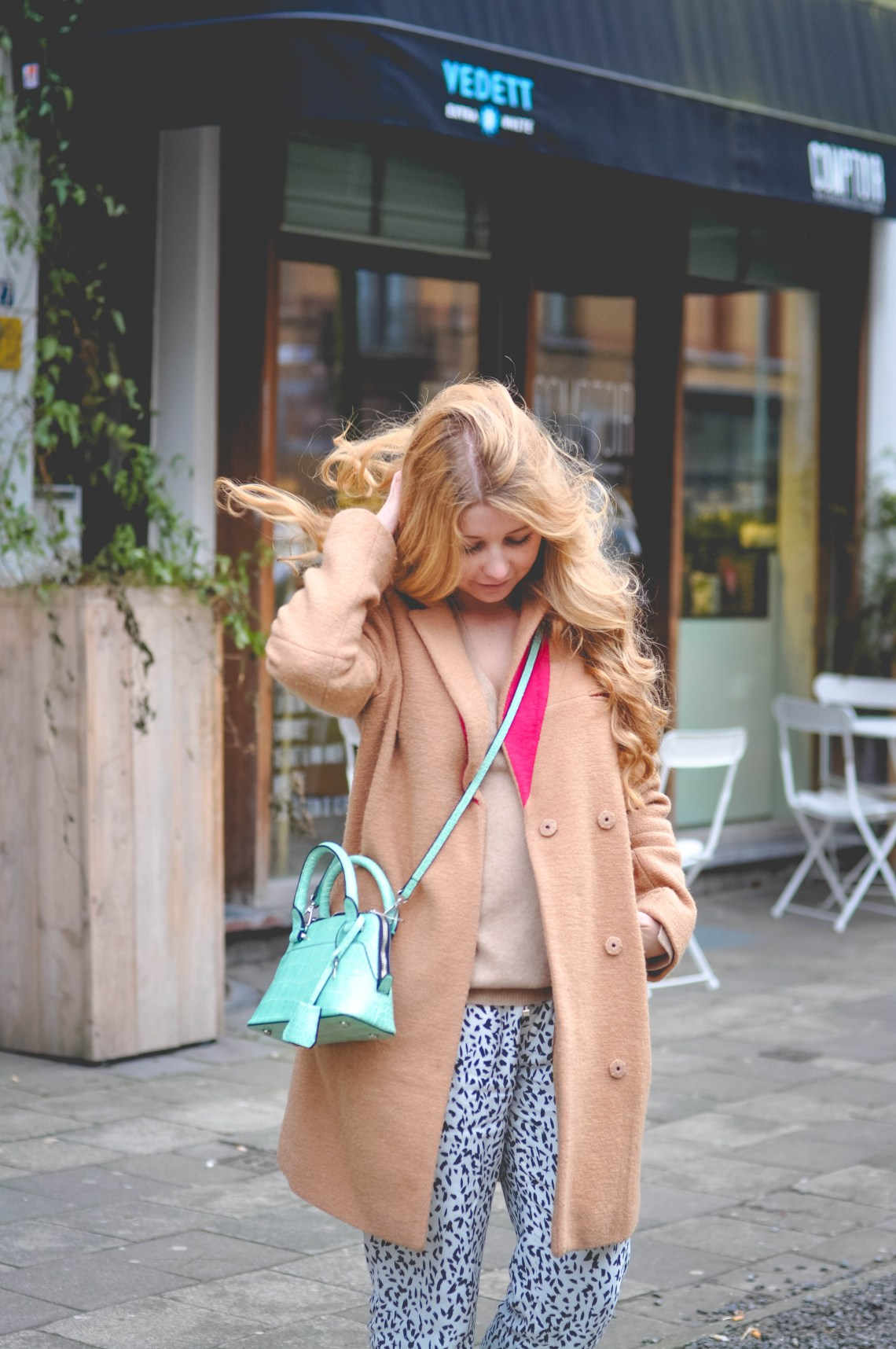 Dogs and Dresses camel coat print pants and cashmere sweater outfit-21