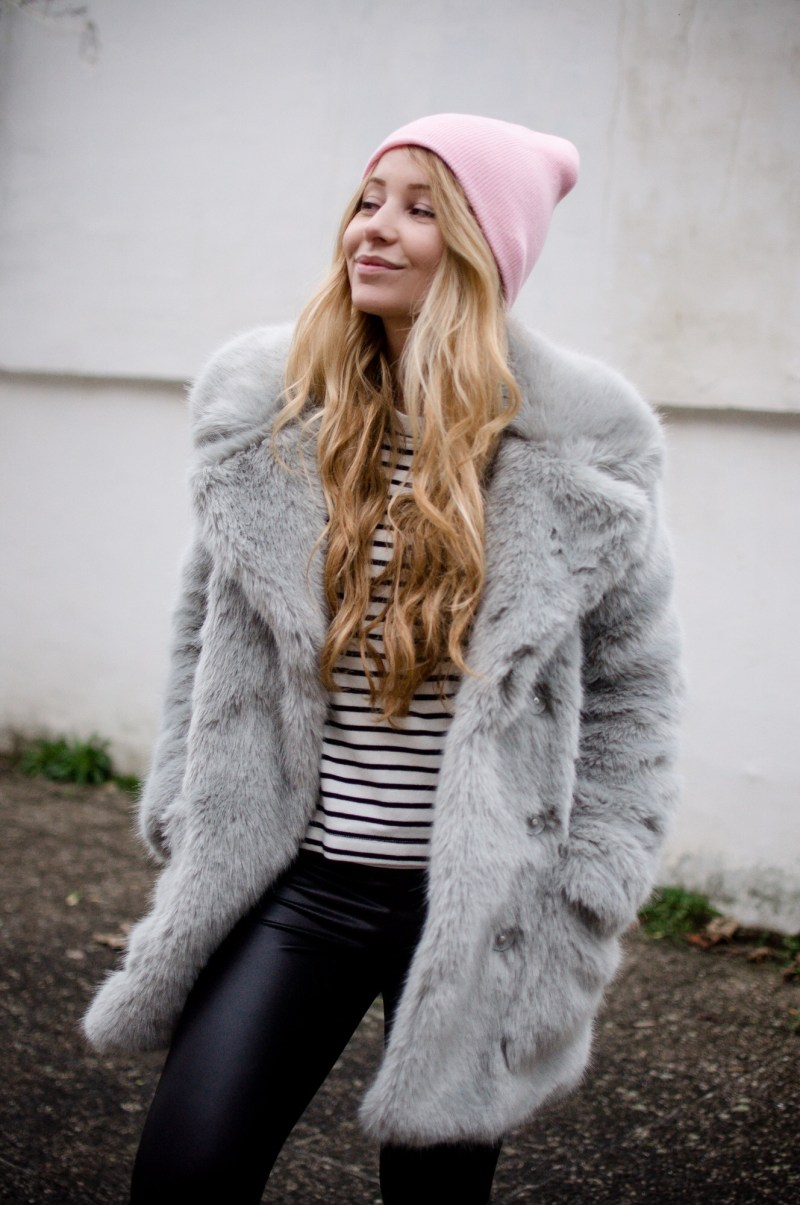 Office Oufit with Faux Fur