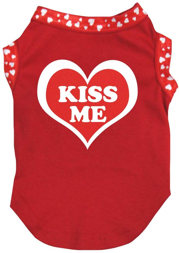 red dog shirt with Kiss Me heart