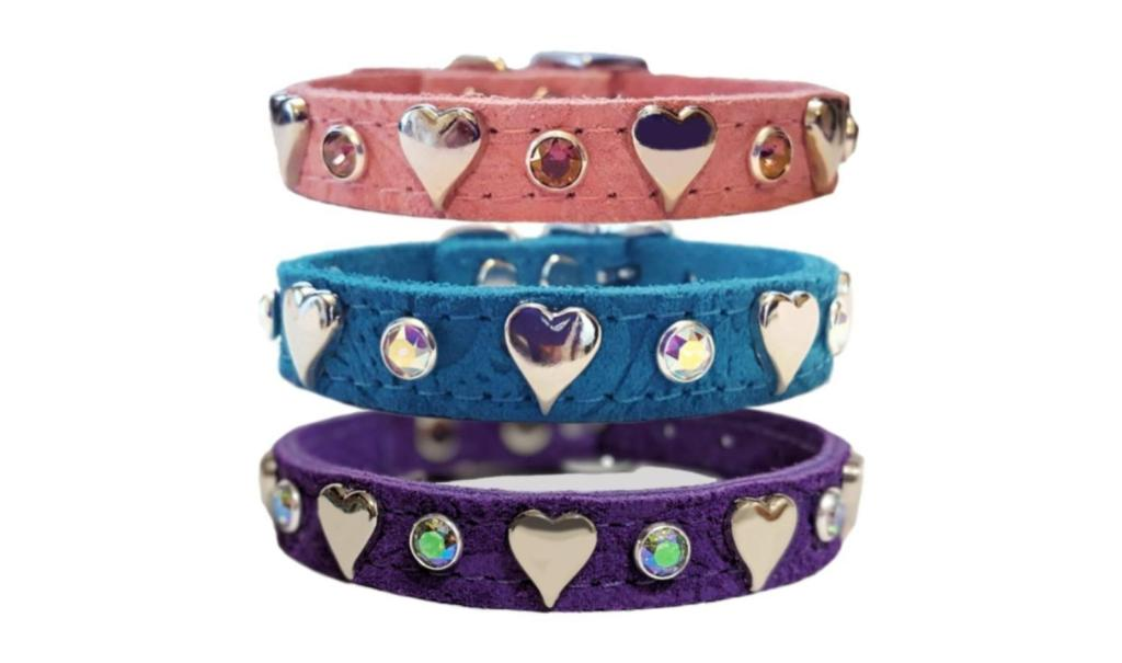 pink, turquoise, and purple heart collars for dogs