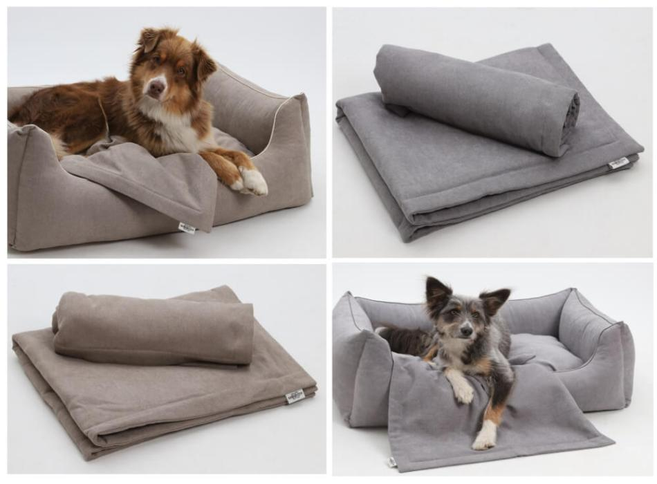 PERFECT MATCH! Box Bed & Plaids Monterey beige and grey   DOGS in the CITY