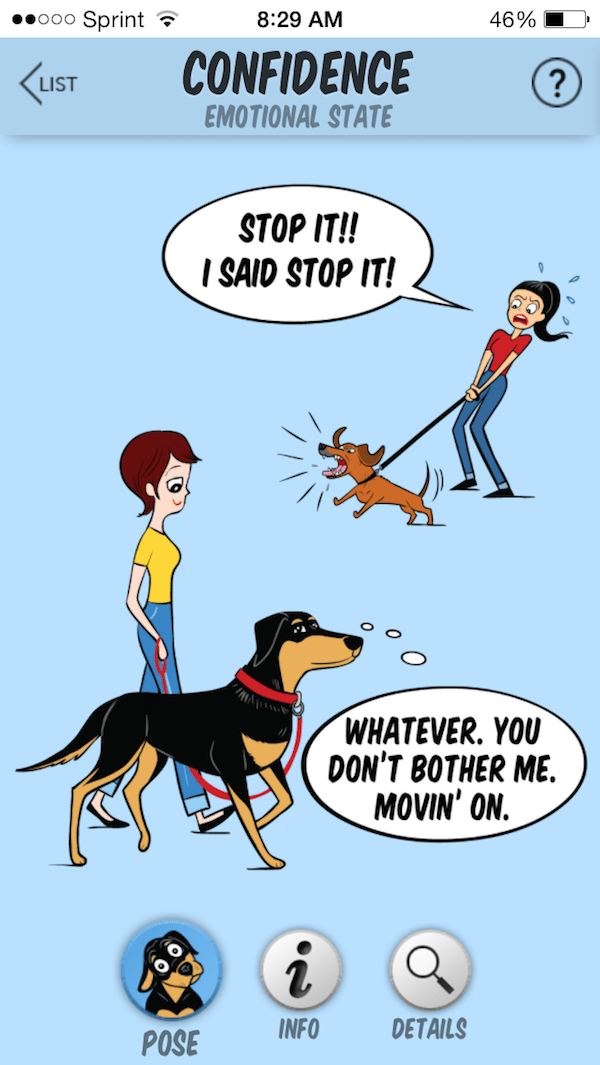 The top dog is not calm, but the bottom one is. (Image from Dog Decoder smartphone app/illustration by Lili Chin of Doggie Drawings)